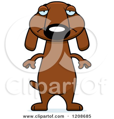 Cartoon of a Depressed Skinny Dachshund Dog - Royalty Free Vector Clipart by Cory Thoman