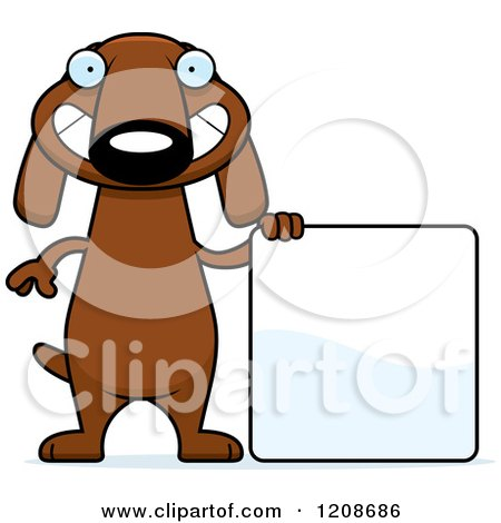 Cartoon of a Happy Skinny Dachshund Dog with a Sign - Royalty Free Vector Clipart by Cory Thoman