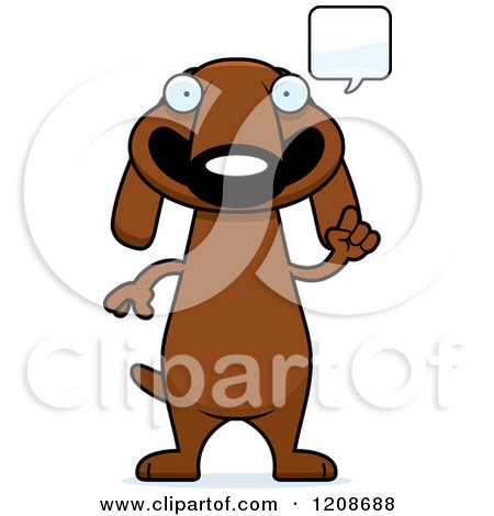Cartoon of a Talking Skinny Dachshund Dog - Royalty Free Vector Clipart by Cory Thoman