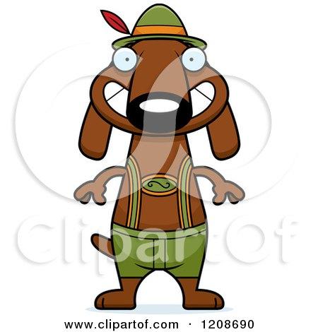 Cartoon of a Grinning Skinny German Oktoberfest Dachshund Dog Wearing Lederhosen - Royalty Free Vector Clipart by Cory Thoman