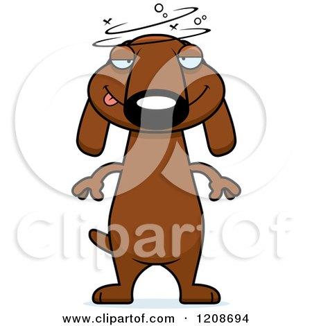 Cartoon of a Drunk Skinny Dachshund Dog - Royalty Free Vector Clipart by Cory Thoman