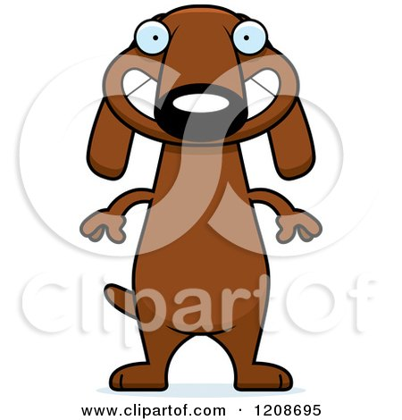 Cartoon of a Happy Grinning Skinny Dachshund Dog - Royalty Free Vector Clipart by Cory Thoman