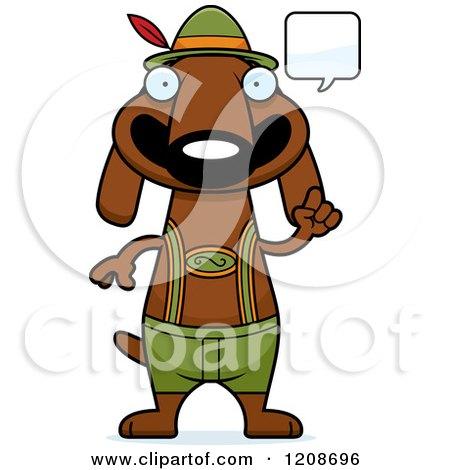 Cartoon of a Talking Skinny German Oktoberfest Dachshund Dog Wearing Lederhosen - Royalty Free Vector Clipart by Cory Thoman