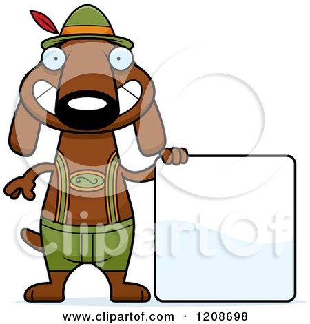 Cartoon of a Happy Skinny German Oktoberfest Dachshund Dog Wearing Lederhosen - Royalty Free Vector Clipart by Cory Thoman