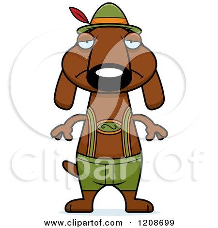 Cartoon of a Depressed Skinny German Oktoberfest Dachshund Dog Wearing Lederhosen - Royalty Free Vector Clipart by Cory Thoman