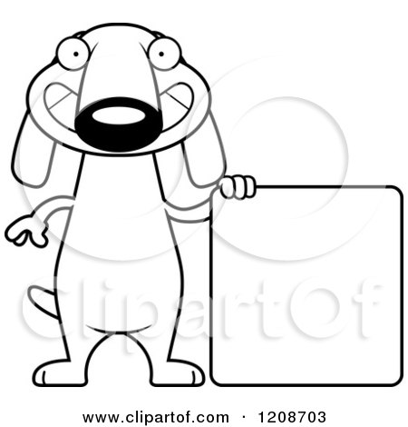 Cartoon of a Black and White Happy Skinny Dachshund Dog with a Sign - Royalty Free Vector Clipart by Cory Thoman