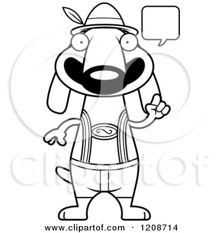 Cartoon of a Black and White Talking Skinny German Oktoberfest Dachshund Dog Wearing Lederhosen - Royalty Free Vector Clipart by Cory Thoman
