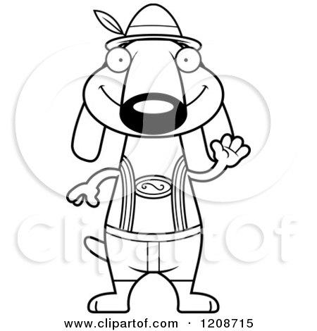 Cartoon of a Black and White Waving Skinny German Oktoberfest Dachshund Dog Wearing Lederhosen - Royalty Free Vector Clipart by Cory Thoman