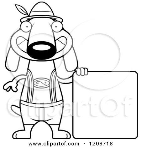 Cartoon of a Black and White Happy Skinny German Oktoberfest Dachshund Dog Wearing Lederhosen - Royalty Free Vector Clipart by Cory Thoman