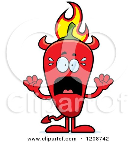 Cartoon of a Scared Flaming Red Chili Pepper Devil Mascot - Royalty Free Vector Clipart by Cory Thoman