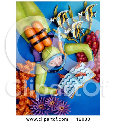 Clay Sculpture Clipart Person Reading A Book And Imagining They Are Scuba Diving A Coral Reef - Royalty Free 3d Illustration  by Amy Vangsgard