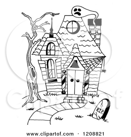 Cartoon Of A Black And White Halloween Haunted House