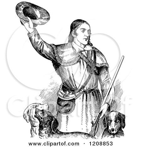 Clipart of Vintage Black and White David Crocket with Dogs - Royalty Free Vector Illustration by Prawny Vintage