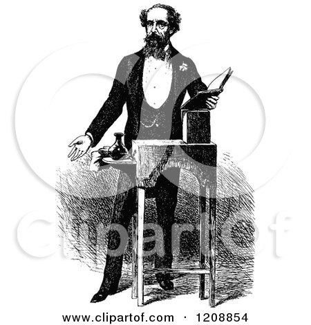 Clipart of a Vintage Black and White Portrait of Charles Dickens - Royalty Free Vector Illustration by Prawny Vintage