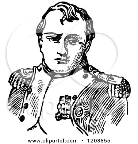 Clipart of a Vintage Black and White Portrait of Napolean - Royalty Free Vector Illustration by Prawny Vintage