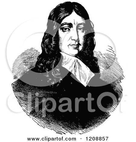 Clipart of a Vintage Black and White Portrait of the English Poet John Milton - Royalty Free Vector Illustration by Prawny Vintage
