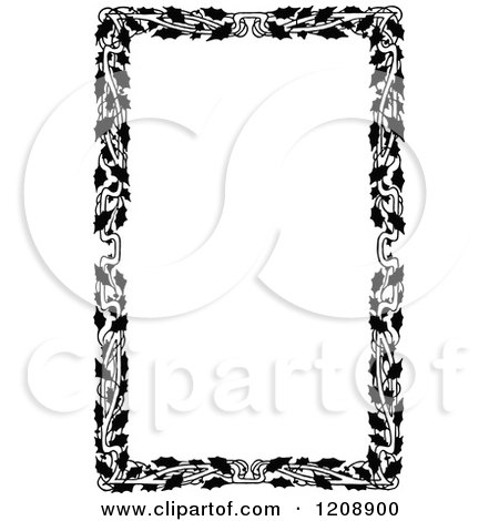 Clipart of a Vintage Black and White Holly Border - Royalty Free Vector Illustration by Prawny Vintage