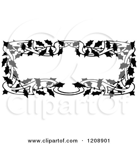 Clipart of a Vintage Black and White Holly Frame - Royalty Free Vector Illustration by Prawny Vintage