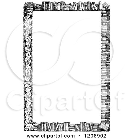 Clipart of a Vintage Black and White Border of Books - Royalty Free Vector Illustration by Prawny Vintage