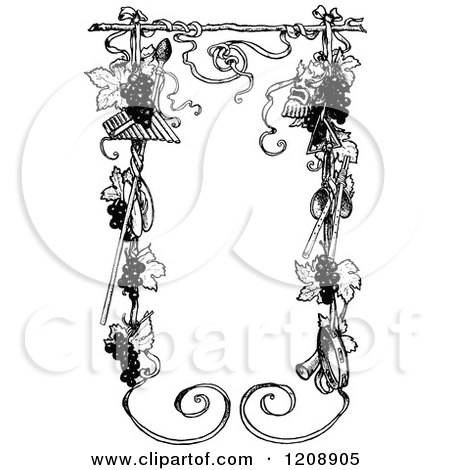 Clipart of a Vintage Black and White Music and Grape Vine Frame - Royalty Free Vector Illustration by Prawny Vintage