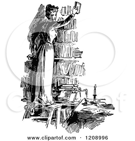 Clipart of a Vintage Black and White Woman Holding up a Book in a Library - Royalty Free Vector Illustration by Prawny Vintage