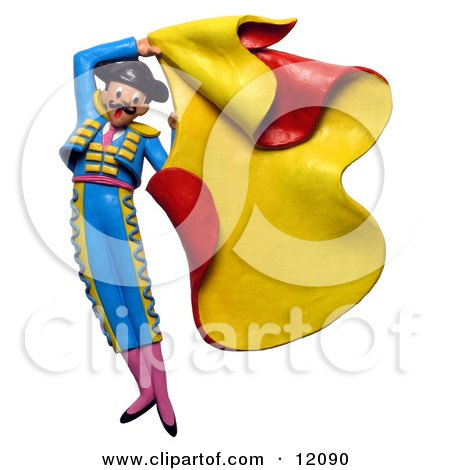 Clay Sculpture Clipart Matador Swinging A Bullfighter Cape - Royalty Free 3d Illustration  by Amy Vangsgard