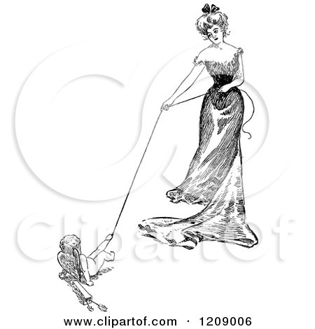 Clipart of a Vintage Black and White Lady and Cupid Playing Tug of War - Royalty Free Vector Illustration by Prawny Vintage