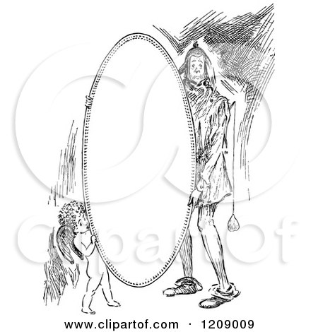 Clipart of a Vintage Black and White Jester and Cupid Oval Frame - Royalty Free Vector Illustration by Prawny Vintage