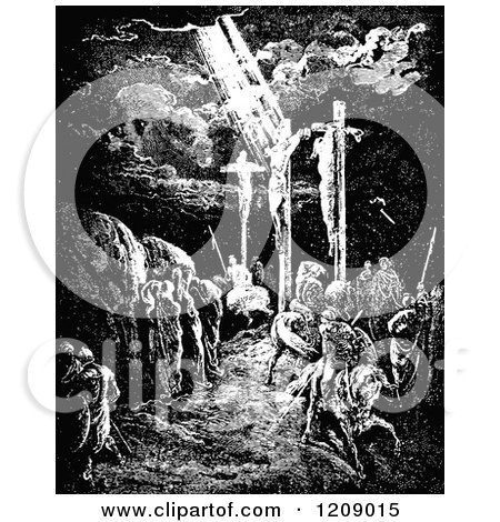 Clipart Of A Vintage Black And White Scene Of Crucifixion