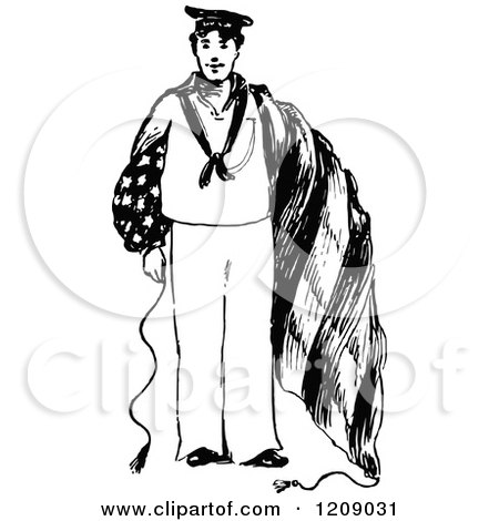 Clipart Of A Vintage Black And White American Navy Man