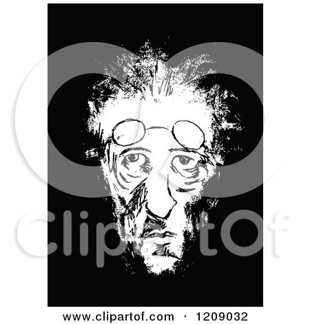 Clipart of a Vintage Black and White Gaunt Old Man - Royalty Free Vector Illustration by Prawny Vintage