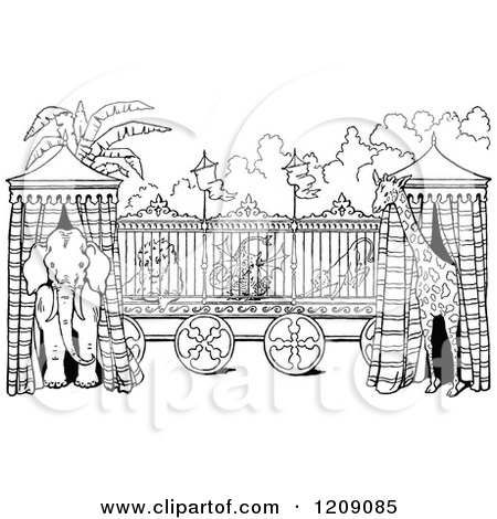 Clipart of a Vintage Black and White Circus Animal Cage and Tents - Royalty Free Vector Illustration by Prawny Vintage