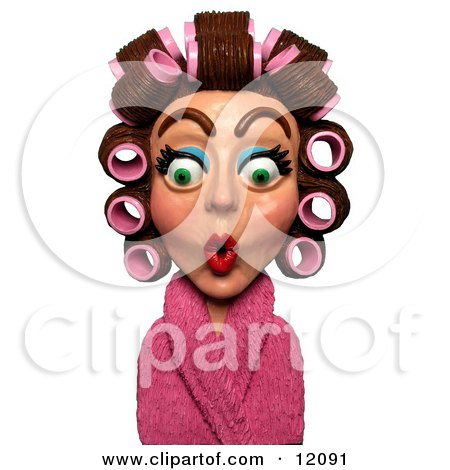 Clay Sculpture Clipart Surprised Woman In A Pink Robe And Curlers - Royalty Free 3d Illustration  by Amy Vangsgard
