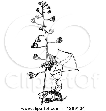 Clipart of a Vintage Black and White Cupid Archer and Love Plant - Royalty Free Vector Illustration by Prawny Vintage