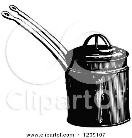 Clipart of a Vintage Black and White Farina Boiler - Royalty Free Vector Illustration by Prawny Vintage