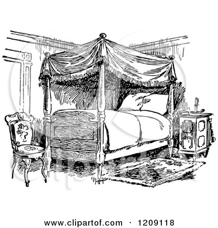 Clipart Of A Vintage Black And White Bedroom Royalty
