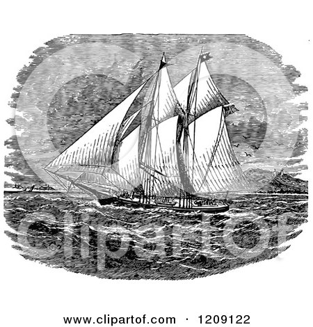 Clipart of a Vintage Black and White Ancient Ship - Royalty Free Vector Illustration by Prawny Vintage
