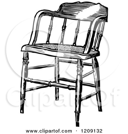 Clipart Of A Vintage Black And White Wooden Chair