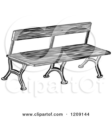 Royalty-Free (RF) Park Bench Clipart, Illustrations ... Park Bench Clipart Black And White