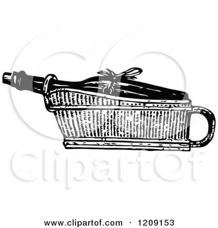 Clipart of a Vintage Black and White Wine Cradle - Royalty Free Vector Illustration by Prawny Vintage