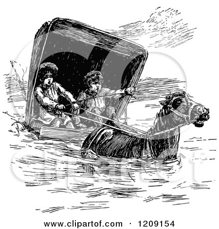 Clipart of a Vintage Black and White Horse Leading Children in a Carriage Through a Flood - Royalty Free Vector Illustration by Prawny Vintage
