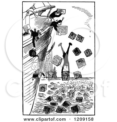 Clipart of Vintage Black and White Crew Lightening the Ship and Throwing Cargo and People Overboard - Royalty Free Vector Illustration by Prawny Vintage