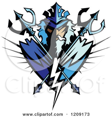 Clipart Poseidon Badge With Crossed Tridents - Royalty Free Vector Illustration by Chromaco