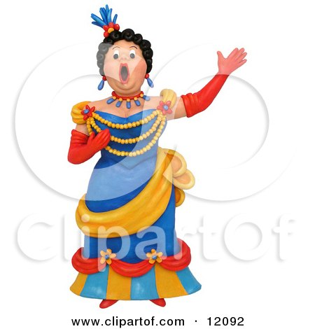 Clay Sculpture Clipart Opera Singer Woman Performing - Royalty Free 3d Illustration  by Amy Vangsgard