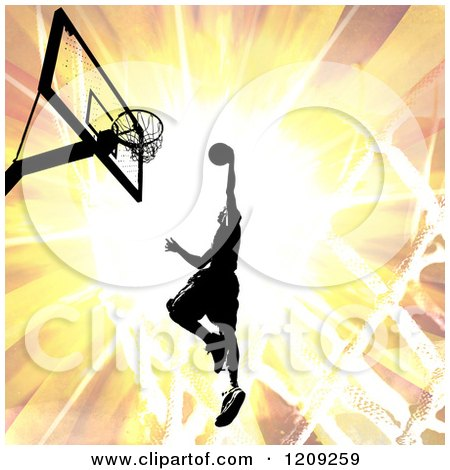 Clipart of a Silhouetted Basketball Player Slam Dunking over a Fiery Burst - Royalty Free Illustration by Arena Creative
