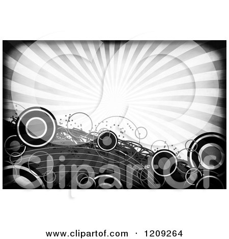 Clipart of a Funky Grayscale Background of Rays and Circles - Royalty Free Illustration by Arena Creative
