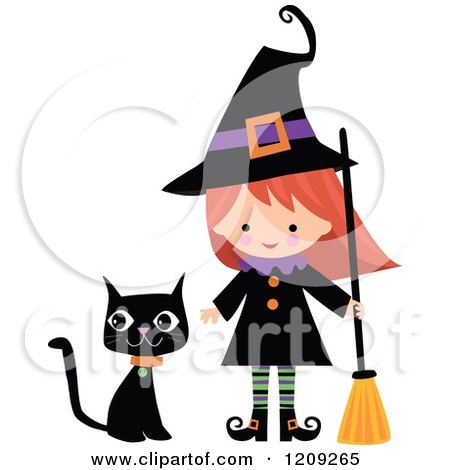 Cartoon of a Cute Halloween Witch with a Broom and Black Cat - Royalty Free Vector Clipart by peachidesigns