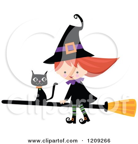 Cartoon of a Cute Halloween Witch Riding a Broomstick with a Black Cat - Royalty Free Vector Clipart by peachidesigns