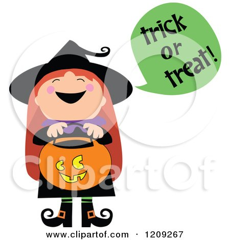 Cartoon of a Cute Halloween Witch Shouting Trick or Treat and Holding a Pumpkin Basket - Royalty Free Vector Clipart by peachidesigns