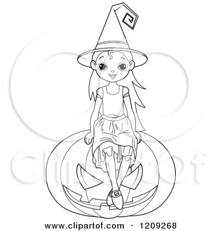 Cartoon of a Black and White Witch Girl Sitting on a Halloween Jackolantern Pumpkin - Royalty Free Vector Clipart by Pushkin